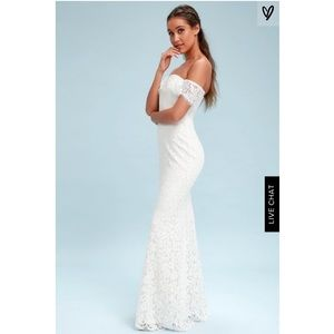 Romantic Heart White Lace Off the Shoulder Maxi